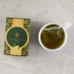 Hempura Hemp Tea from above with cup of tea